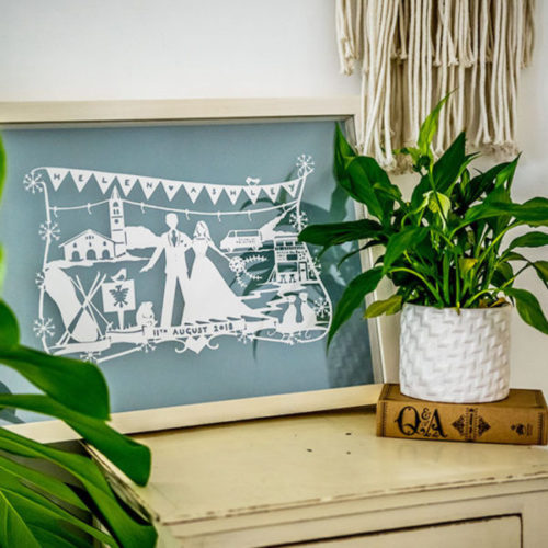 Paper Cut Wedding Gift in frame